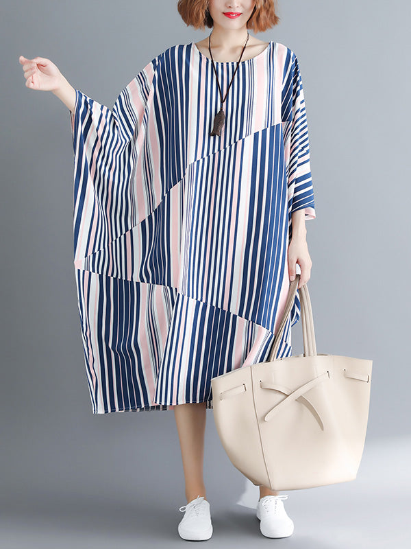 Casual Striped Printed Split-joint Long Dress