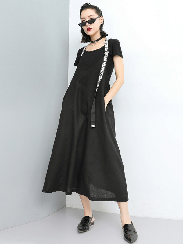 Fashion A-line Suspender Long Dress
