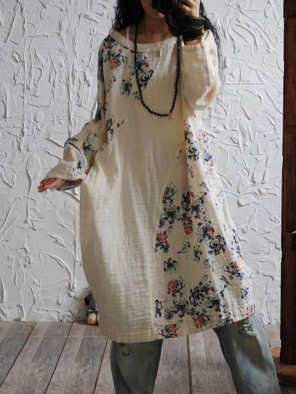 Casual Flower Printed Linen Cotton Blouses Dress