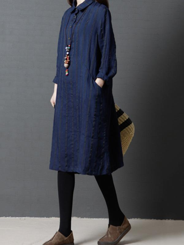 Navy&Black Loose Striped Linen Blouse Dress