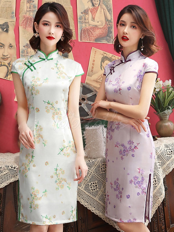 Vintage Floral Silk Improved Short Cheongsams