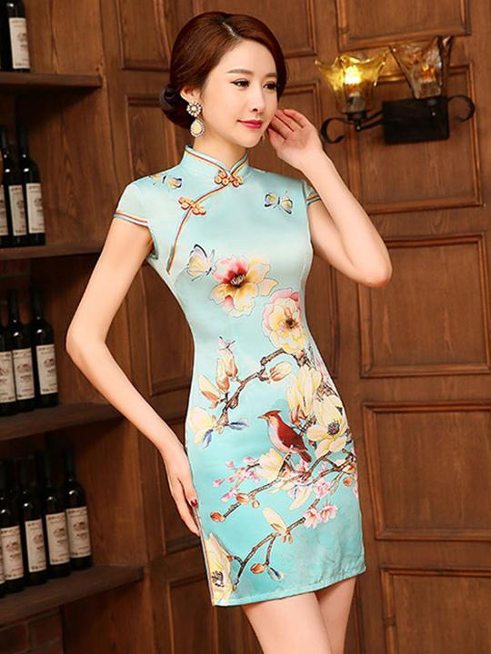 Floral-Printed Slim Fit Short Cheongsams Dress