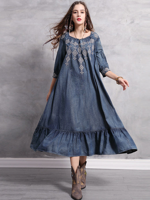 Plus Size Loose Embroidered Ruffled Midi Dresses