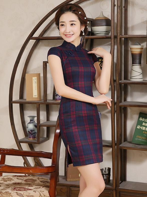 Red&Green Plaid Short Cheongsam Dress