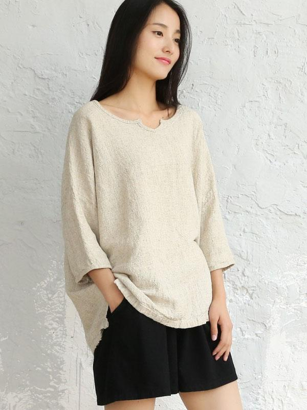 Loose National Fork Cotton Blouses