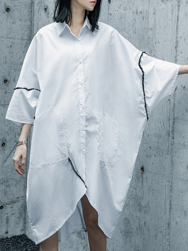 White Asymmetric Batwing Sleeves Lapel Blouse Dress