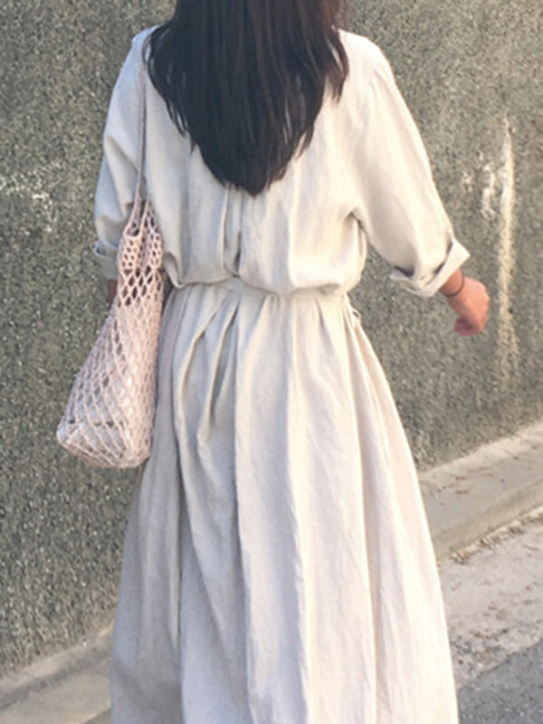 Retro Linen Lace-up Long Dress