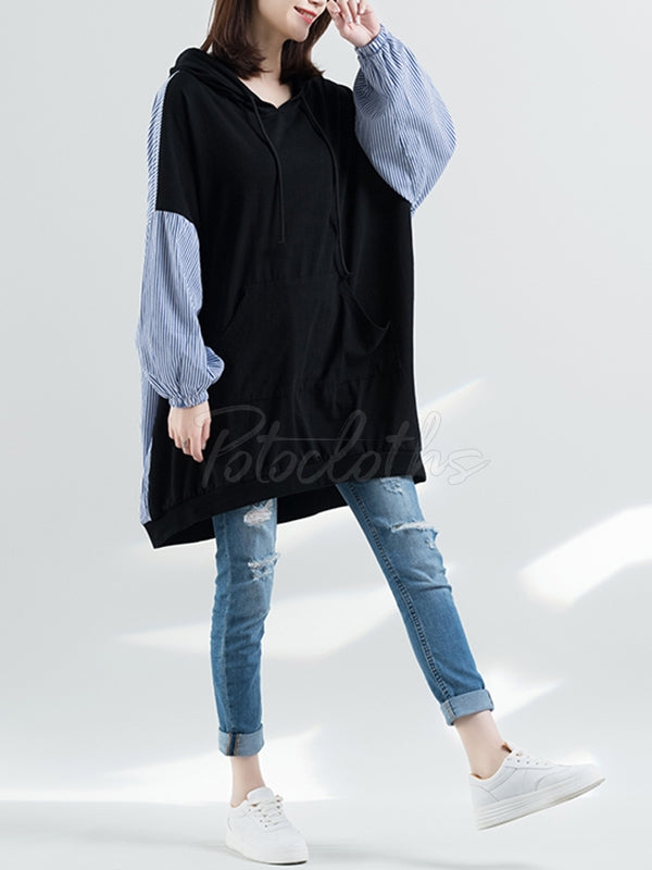 Casual Striped Split-joint Hoodie
