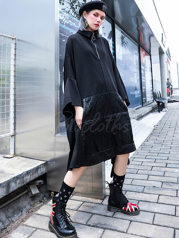 Casual Batwing Sleeves Zipper Midi Dress