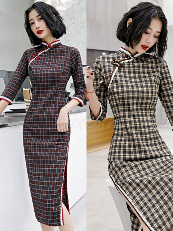 Ramie Cotton Plaid Improved Cheongsams