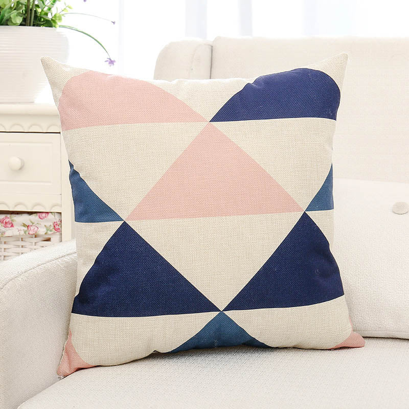 Pink & Blue Geometric Printed Cushion Pillow