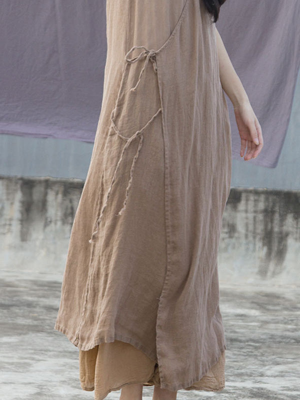 Literary Sleeveless Ramie Cotton Long Dress