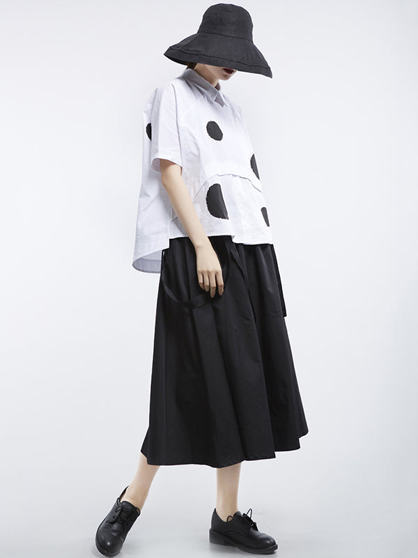 Loose Polka-dot Split-joint Shirt