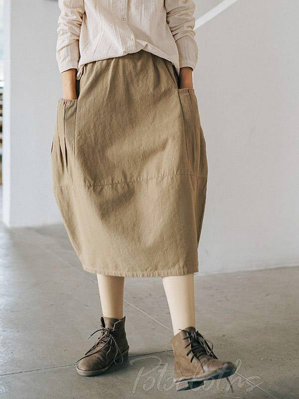 Solid Casual Cotton Pocket Skirt