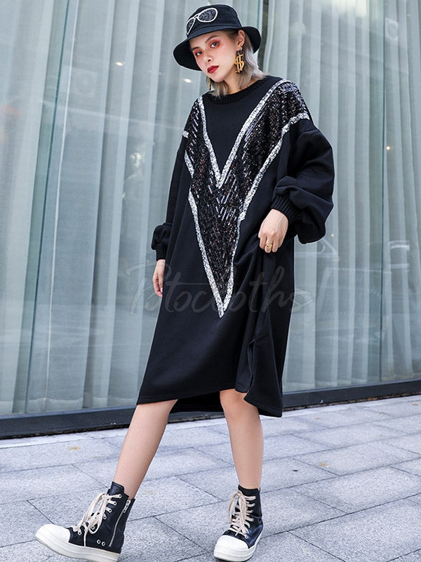 Loose Sequined Thicken Sweatshirt Dress