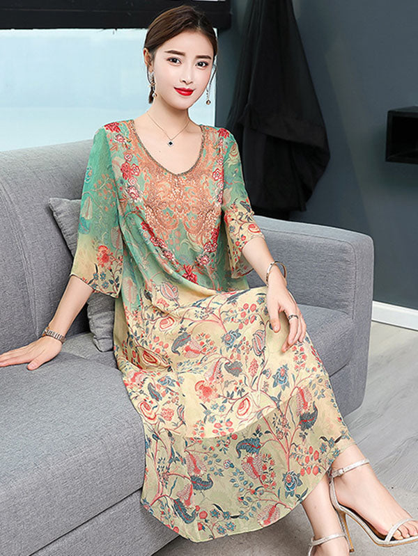 Retro Silk Soft Long Dress