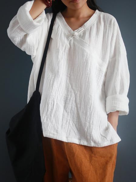 3Color Comfortable National Style Botton Blouses