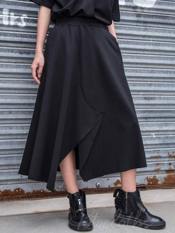 Casual A-Line Cropped Split-Front Skirt
