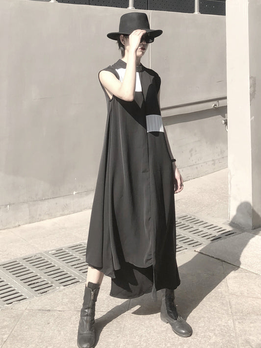 Asymmetric Sleeveless Black Long Dress