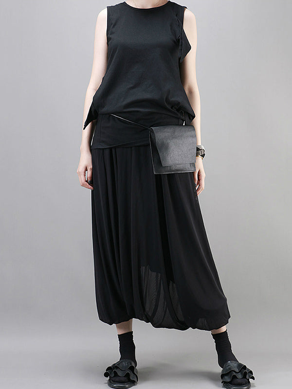 Black Loose Ruffled Harem Pants