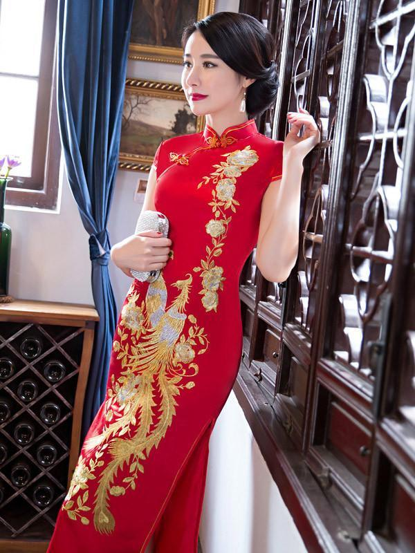 Red Embroidery Phoenix Long Cheongsam Dress