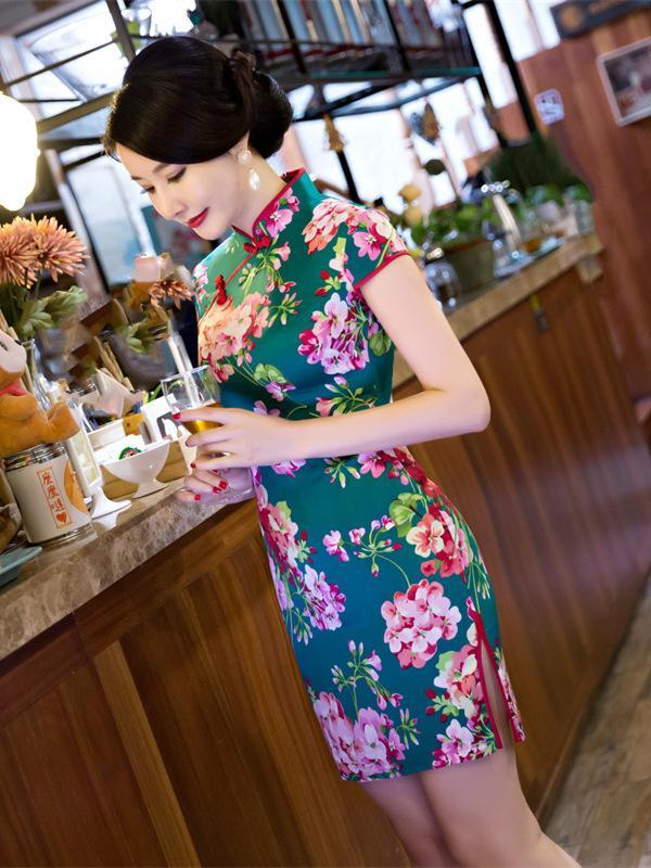Green Flower Side Split Short Cheongsam