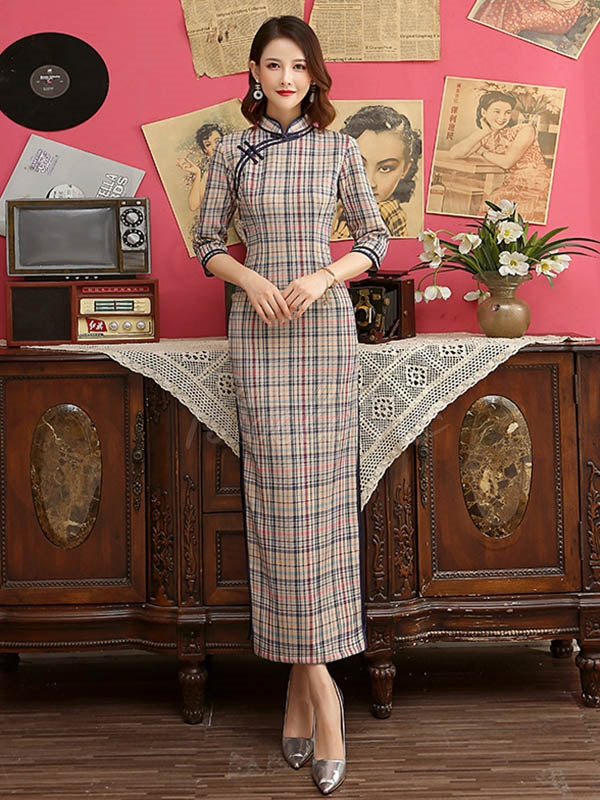 Vintage Plaid Improved Long Cheongsams