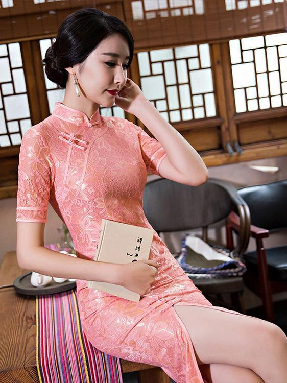 Pink&Gray Vintage Long  Cheongsam  Lace  Dress