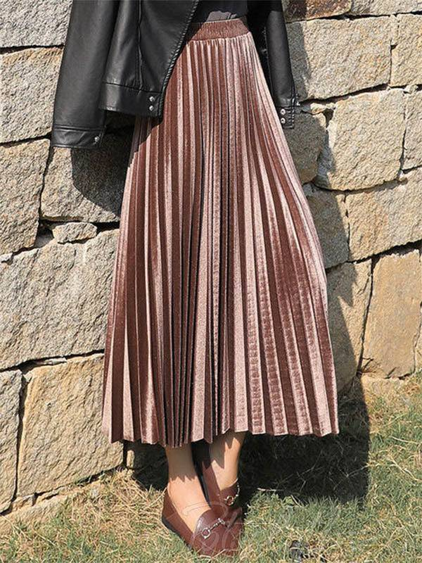 Solid Color High-Waist Pleated A-Line Skirt