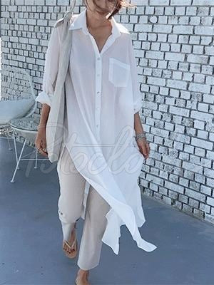 Loose Split-side Light White-shirt