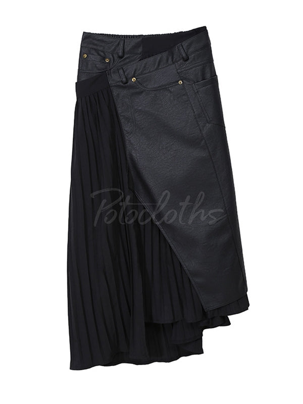 Pleated Stitching Cropped PU Skirt