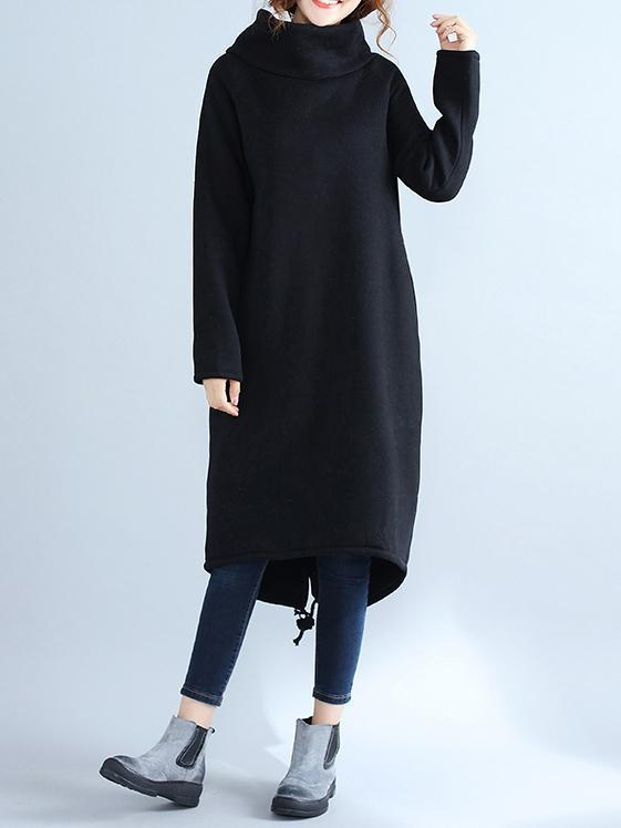High Collar Fleeced Long Dress