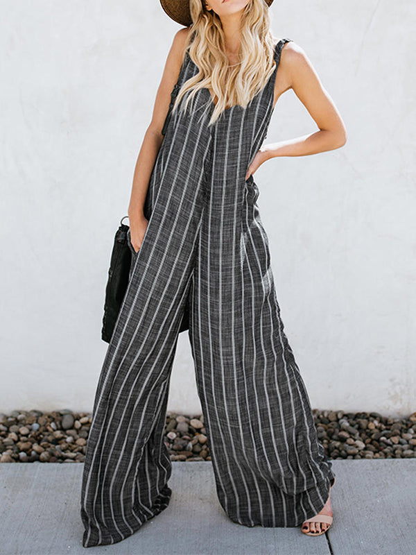 Striped Split-joint Wide Leg Sleeveless Jumpsuits