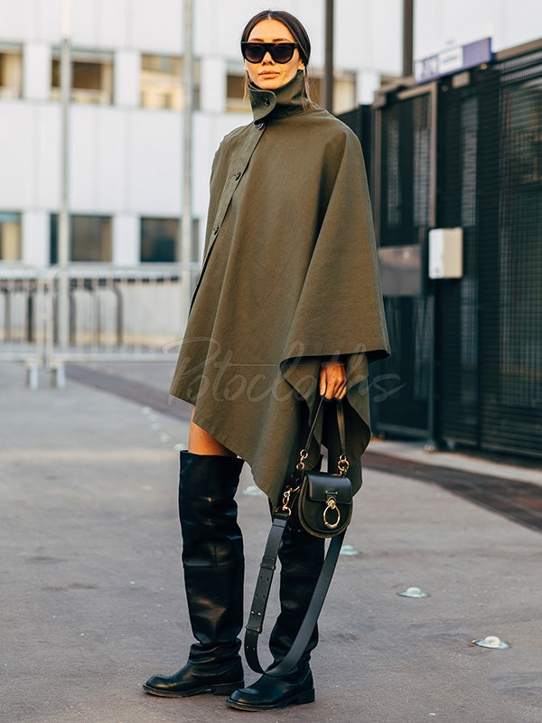 Loose Green High-Neck Asymmetric Outwear