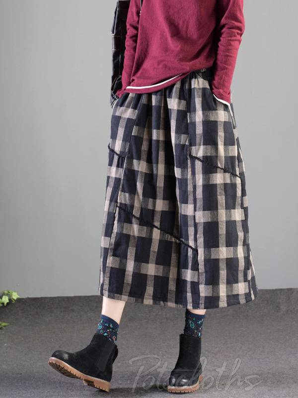 Vintage Splicing Plaid Thickening A-Line Skirt