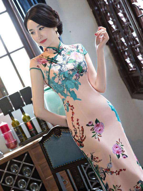 Pink Peony-print Split-side Long Cheongsam