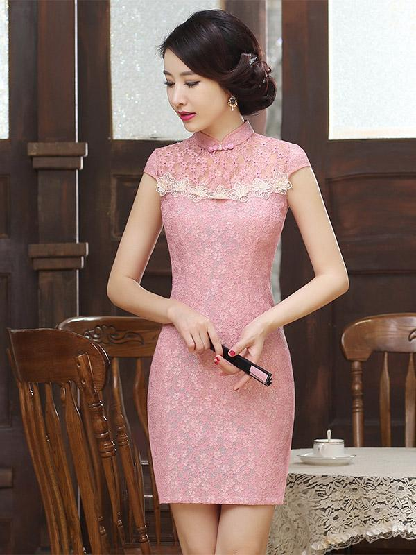 Pink Lace Hollow Short Cheongsam