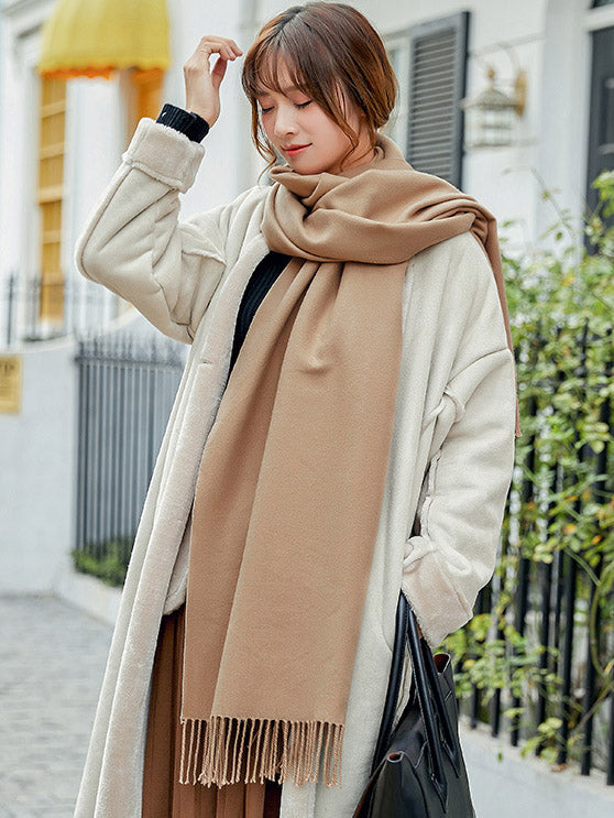 Both-side Warm Tasseled Super Long Scarf