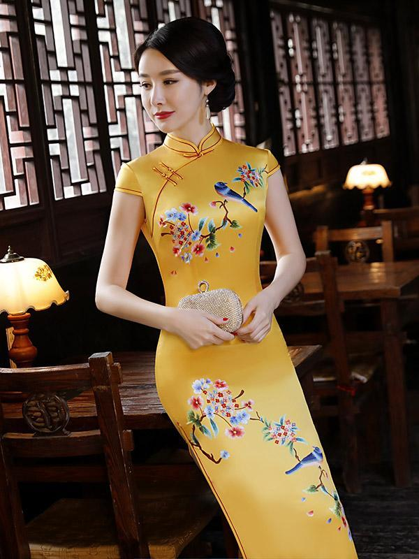 Natinal Flower Printed Stand-collar Split-side Yellow Long Cheongsam