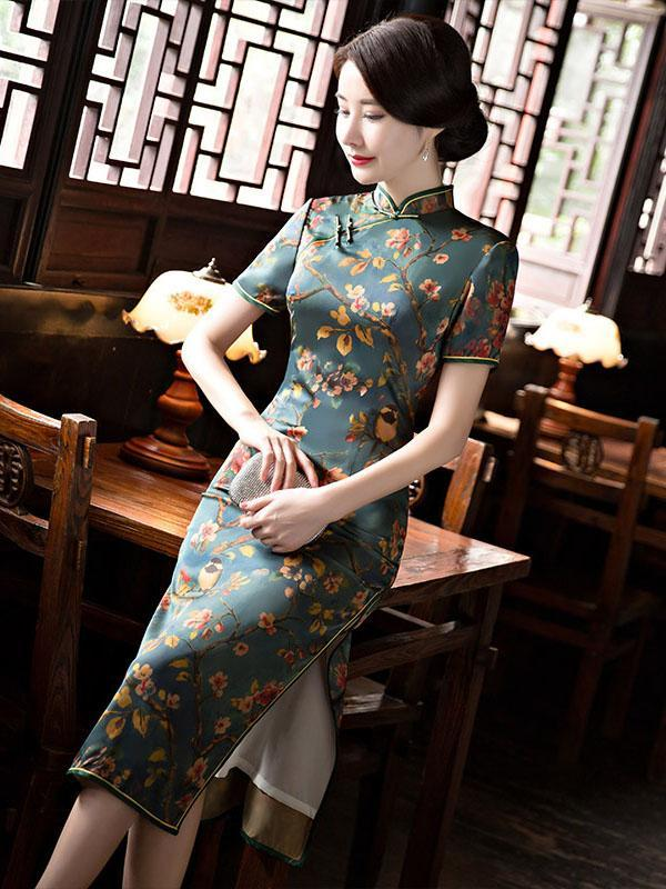 Green Peach Blossom Print Stand-collar Long Cheongsam