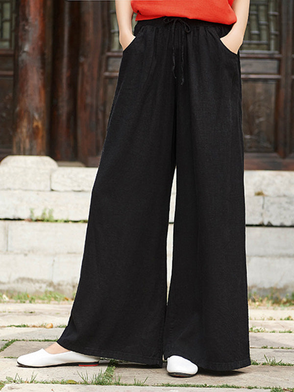 Retro Wide-leg Lace-up Pants
