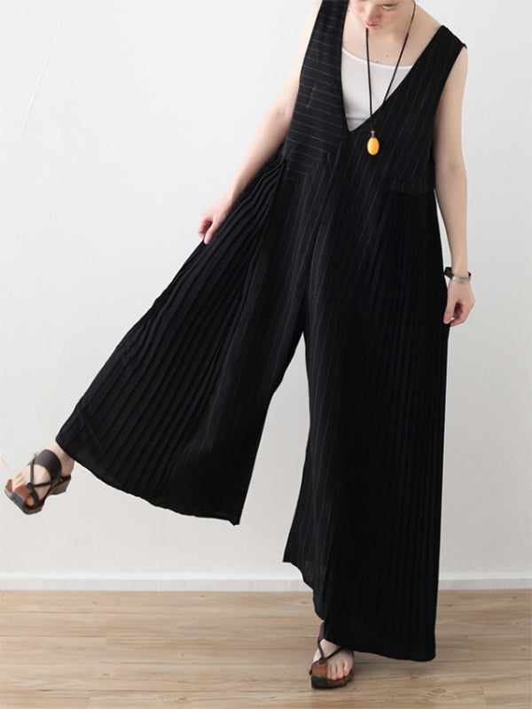 Black Striped Split-joint Ruffled Sleeveless Jumpsuits