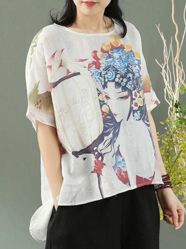 Retro Linen National Printed T-shirts