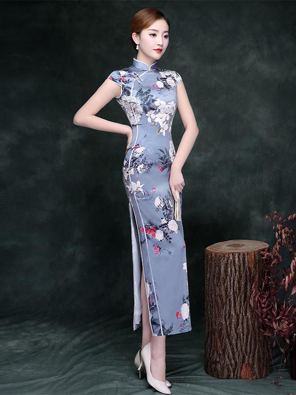 Printed Split-side Vintage Long Cheongsam