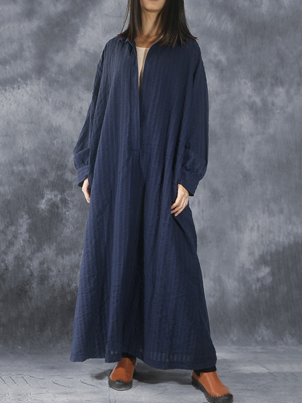 Loose Navy-blue Striped V-neck Lapel Long Dress