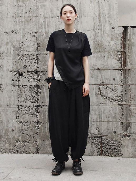 Split-joint Asymmetric T-shirt Tops