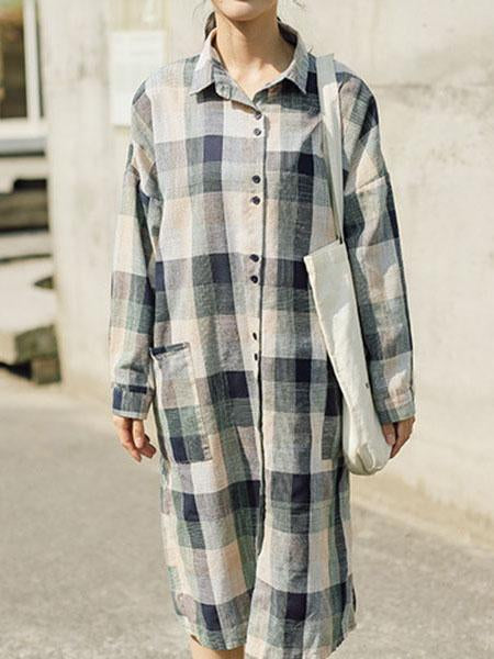 Autumn Plaid Long Sleeves Lapel Linen Blouse Dress