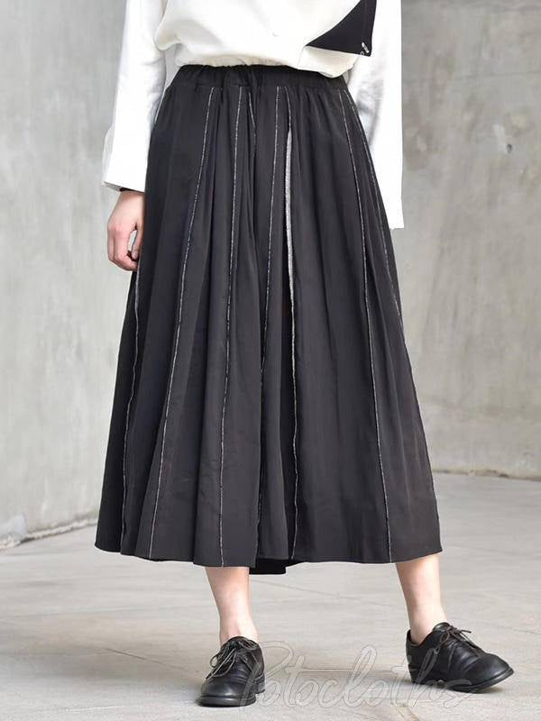 Black Pleated Reverse Splicing Skirt