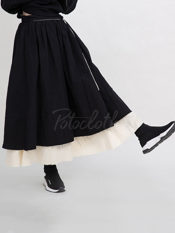 Splicing Double Tiered Fringed Thickening Cropped Skirt