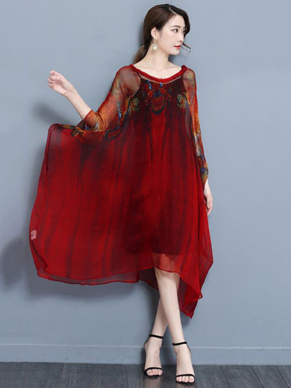 Casual Silk Batwing MIdi Dress